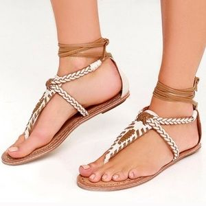 Dolce Vita Keoni Leather Sandal White Lace Up